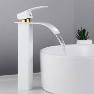 Details zu Hoch Waschtischarmatur Wasserhahn Bad Waschbecken Armatur Chrom  Ein Griff Weiß