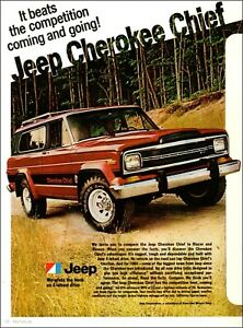 Jeep Cherokee Chief >> Details About 1970s Classic Car Ad Red Jeep Cherokee Chief 072819
