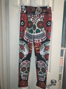 Women-s-Sugar-Skull-Leggings-New-Without-Tags-Size-Small