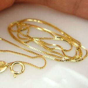 Pure-Solid-18k-Yellow-Gold-Perfect-Luck-Box-Bead-Link-Chain-Tiny-Necklace-16-034-L
