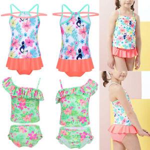 Kids-Baby-Girls-Floral-Swimsuit-Swimwear-Tankini-Set-Bathing-Suit-Beachwear-2PCS