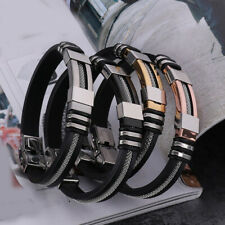 Black Silicon Rubber Stainless Steel Bangle Mens Womens Bracelet Wristband BR355