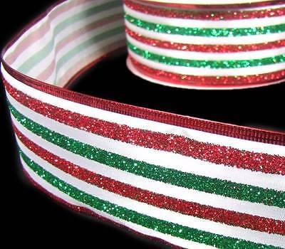 5 Yards Christmas Red Velvet Green Glitter Striped Wired Ribbon 2 1//2 SO PRETTY