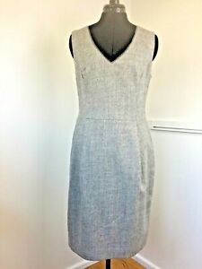 Monsoon-Grey-Dress-12-Sleeveless-Pinafore100-Wool-V-Neck-Shift-Knee-Length