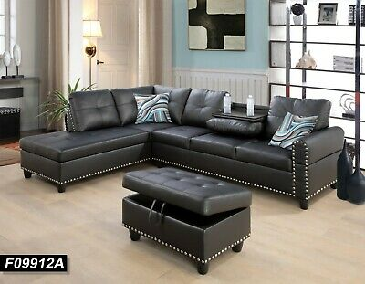 3-Pieces  Sectional Sofa Set,Build-in Drop Down Coffee Table,Red F09915AB