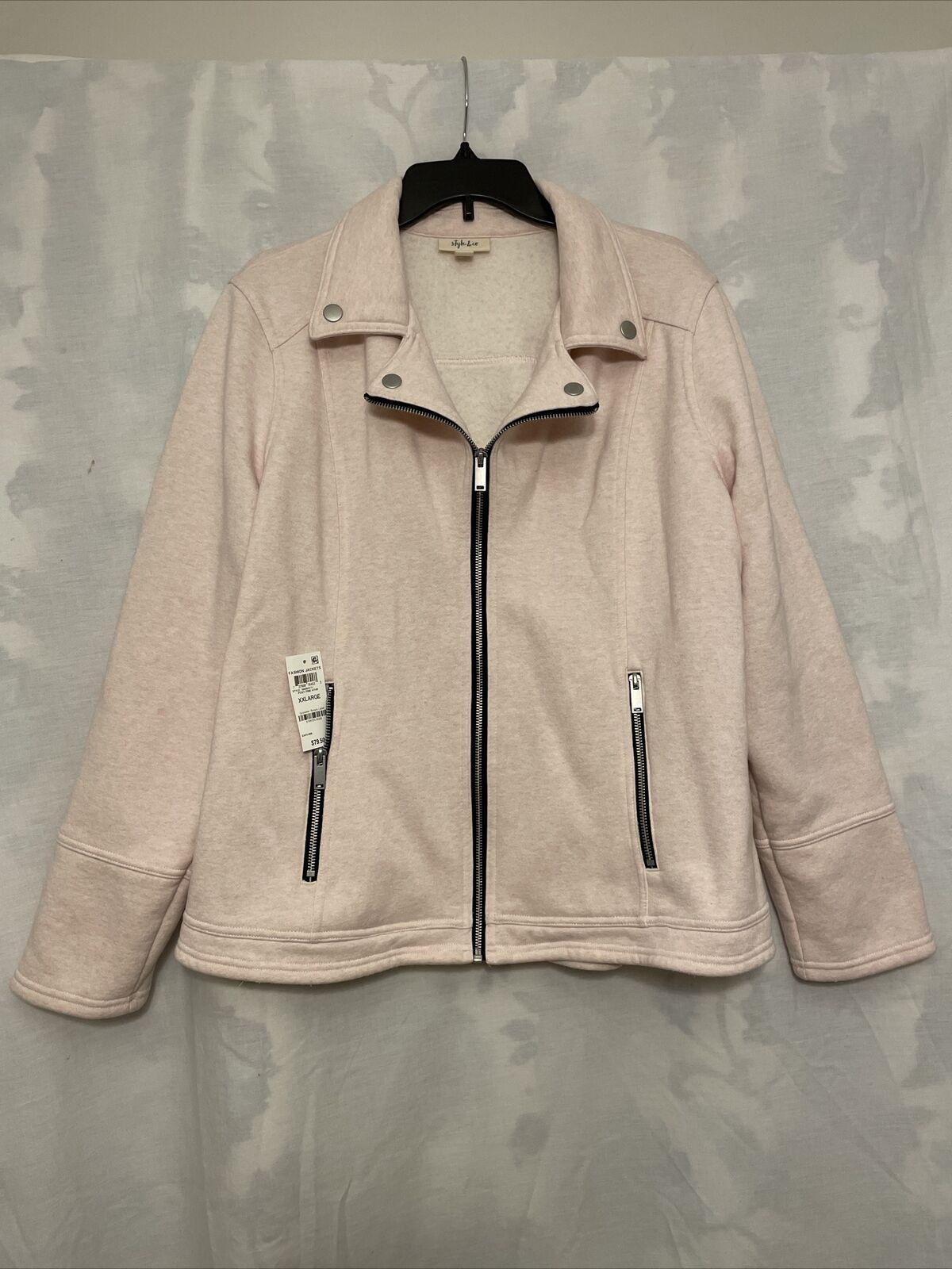 Style & Co. Womens Jacket Pink Size XXL Zip Front Flip Notch-Collar Button 2XL