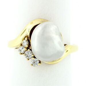Vintage-18k-Yellow-Gold-White-Baroque-Pearl-Solitaire-amp-Brilliant-Diamond-Ring