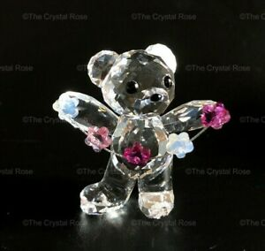 RARE-Retired-Swarovski-Crystal-Kris-Bear-Flowers-for-You-1016620-Mint-Boxed