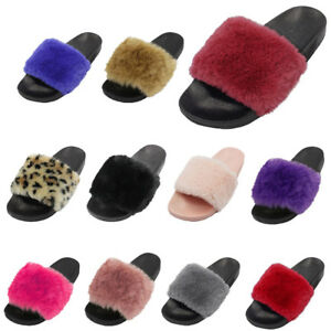 2736bdbecec1 Womens Faux Fur Slide Slippers Suede Fuzz Cozy House Shoes Scuff ...