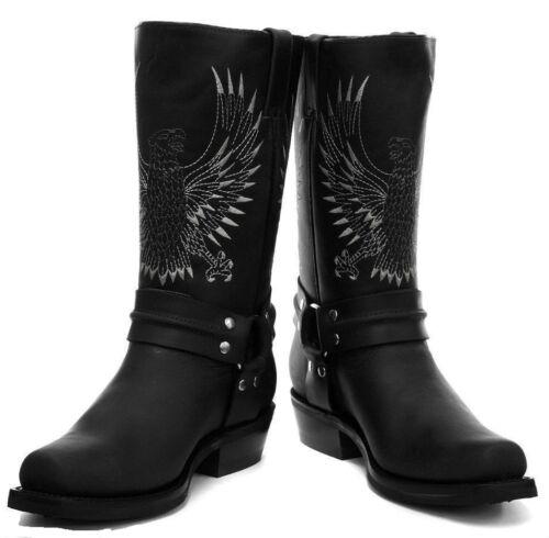nero Bald Boot motociclista Eagle da cowboy New Stivali del pelle in Unisex Grinders xITEaq7q