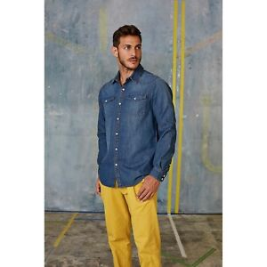L M Denim Sleeve Washed Xxl Kariban S Blue Shirt Xl Jean Shirts Studded Long Mens Cuffs w40TnxgR