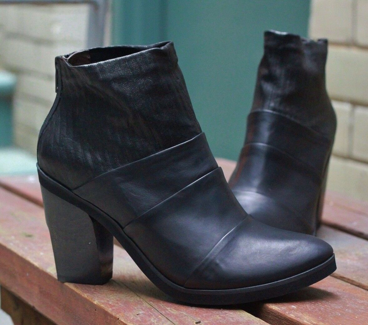 COCLICO SHOES MELINA BOOTIES BLACK BLACK BLACK LEATHER ANKLE BOOTS BACK ZIP  425 40 9 NEW 80cfb8