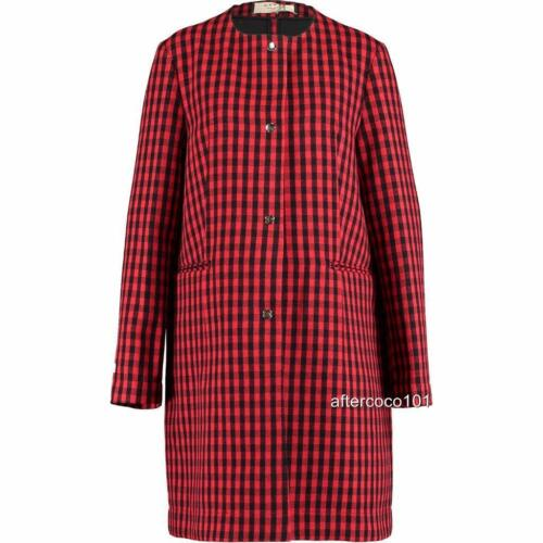 Wool 12 Marni New It42 Checked Rrp1195gbp Coat Red black Uk10 q7YpE