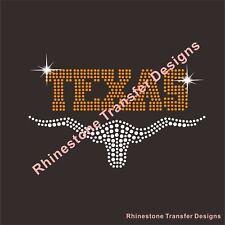 TEXAS BULL RHINESTONE IRON ON APPLIQUE FIX HEAT TRANSFER
