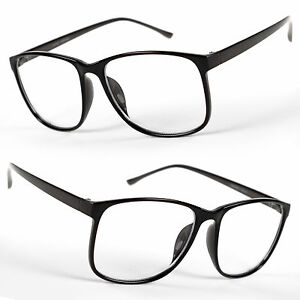 4d82654eb09 Image is loading Large-Oversized-Vintage-Glasses-Clear-Lens-Thin-Frame-