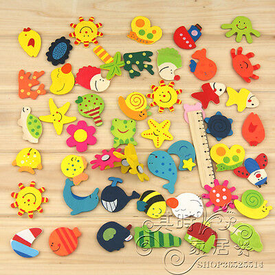 12pcs Wooden Kitchen Fridge Magnet Decor Baby Kid Educational Cute Gift