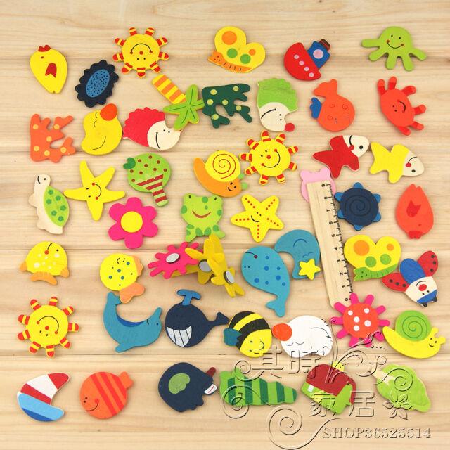 12x Magic Kitchen Wooden Fridge Magnet Cartoon Baby Educational Kids Toy Gift