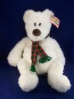 """Gund Heads & Tales White Teddy Bear w/Scarf Winter Holiday 24"""" Plush WITH TAGS!"""