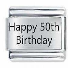 HAPPY 50TH BIRTHDAY Daisy Charms by JSC Fits Classic Size Italian Charm Bracelet