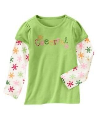 "GYMBOREE CHEERY ALL THE WAY GREEN ""Cheerful"" SNOWFLAKE TEE 3 4 5 6 7 8 9 10  NWT"