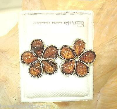 15mm Hawaiian Sterling Silver Genuine Koa Wood Plumeria Flower Post Earrings