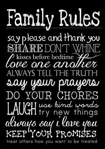 Image Is Loading FAMILY RULES 3 LIFE INSPIRATIONAL MOTIVATIONAL QUOTE POSTER