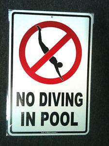 "swimming 18/""x12/"" NO DIVING pool safety warning metal sign"