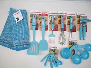 Perfect Kitchenaid Set Of 17 Aqua Turquoise Blue Kitchen Utensils Ebay