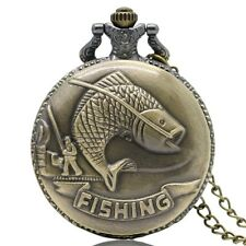 New Fishing Carp River Hobby Sport Quartz Pocket Watch Full Hunter Chain Gift UK