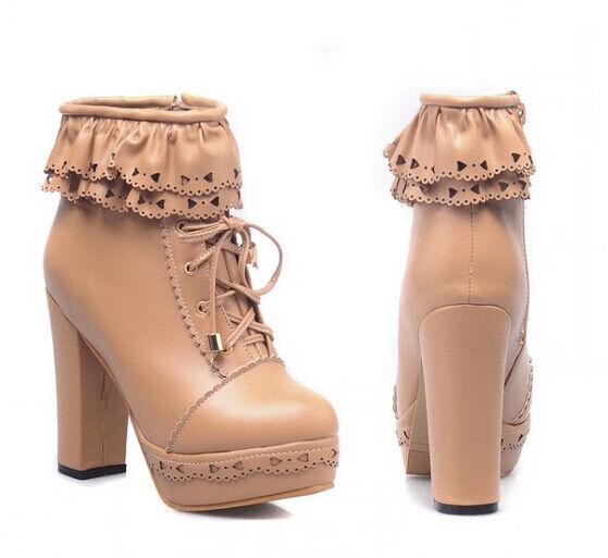 Women's Lotia Sweet Lace Up Platform Ankle Boots High Heels Shoes Cutout pumps