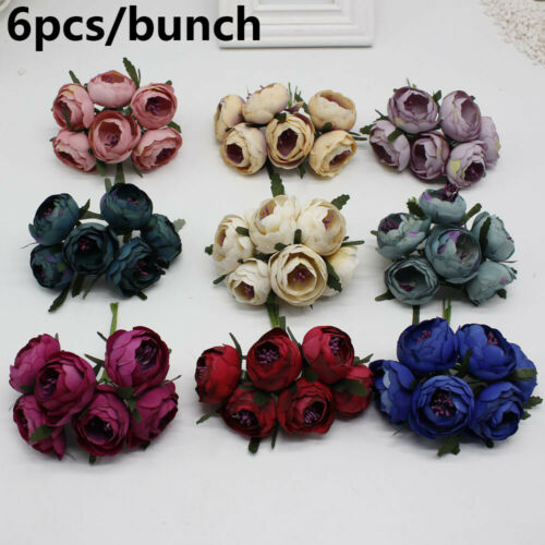 Decoration Silk Bunch Artificial Flowers Fake Roses Peony Bridal Bouquet
