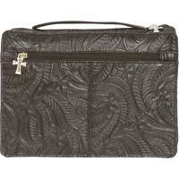 Womens Genuine Leather Embossed Bible Cover, Girls Black Zippered Book Protector