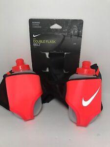 Black-Salmon-Nike-Double-Flask-Water-Bottle-Pocket-Running-Belt-Nike-Swoosh