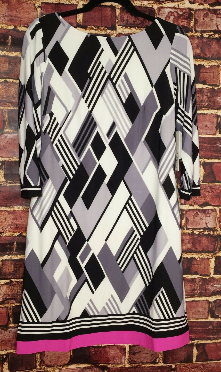 NWT  Eliza J Contrast Hem Geometric Shift Dress - Größe 10  MFSRP