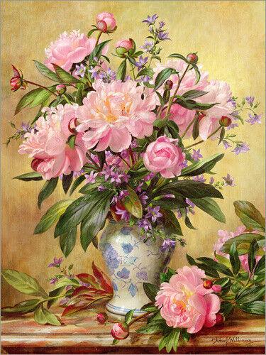 Albert Williams Premium-Poster Vase mit Pfingstrosen und Glockenblumen