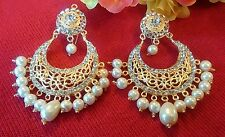 Chand bali Hyderabadi pearl jewellery Bollywood Indian fashion dangle earrings