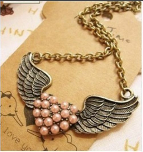 Top Sell Fashion Style Charm pink peach heart pearl Angel wings pendant necklace