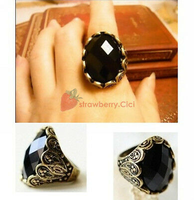 New Fashion Vintage Alloy Big Black Acrylic Gemstone Alloy Bronze Finger Ring