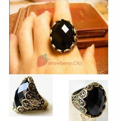 New Fashion Vintage Alloy Big Black Acrylic Gemstone Alloy Bronze Finger Ring