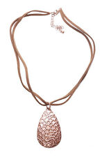Tear Drop Chocolate Brown Pendant & Double Leather Stranded Necklace(Zx85/97)