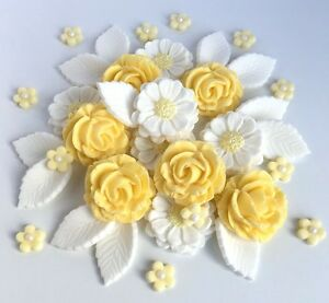 Pastel yellow white roses wedding flowers cake decorations edible image is loading pastel yellow amp white roses wedding flowers cake mightylinksfo