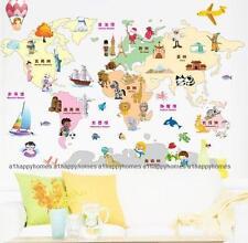 Wahrzeichen Kinder Safari Tiere Weltkarte Wandaufkleber Kunst Sticker
