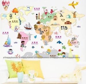 Landmarks kids safari animal world map wall stickers art decal la imagen se est cargando hitos kids safari animal mapamundi pegatinas de pared gumiabroncs Choice Image