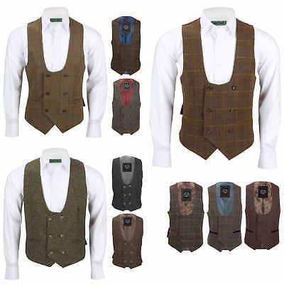 Mens Double Breasted Waistcoat Classic Low U Cut Herringbone Tweed Check Vest Bereitstellung Von Annehmlichkeiten FüR Die Menschen; Das Leben FüR Die BevöLkerung Einfacher Machen