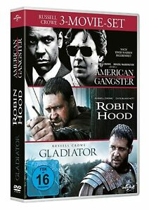 American Gangster/Robin Hood/GLADIATORE [3 DVD's/Nuovo/Scatola Originale] Russell Crowe
