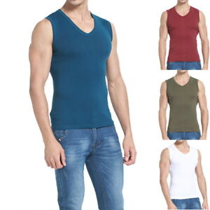 Sports-Mens-039-Casual-Cotton-Sleeveless-Vest-Slim-Tank-Tops-Bodybuilding-T-Shirts
