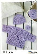 Vat Hand Knitting Pattern Dk Baby Toddler Wrap Cardigan Hat Ukhka70