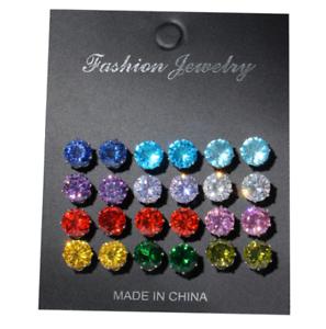 Rainbow Color 12 paires cristal d/'oreille de goujon Femmes Hommes mignon populaire Zircon Boucle d/'oreille