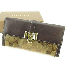 Auth Gucci Double Sided Wallet Crystal GG Ladies used J21058