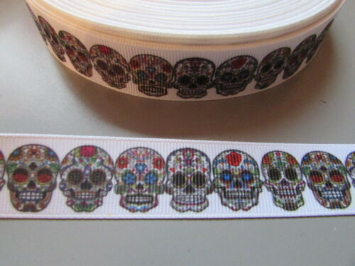 Sugar Skull Grosgrain Ribbon 2.2cm  x 1 Metre  Sewing//Costume//Crafts//Cake